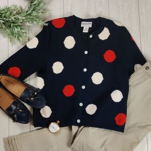 Pendelton navy polka dot  cotton  cardigan sweater